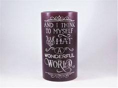 What a Wonderful World Pillar Candle Primitive Folk Art