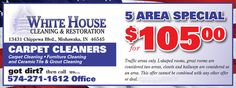 White House Carpet Cleaning and Restoration    5 Area Carpet Cleaning Special for $105.00