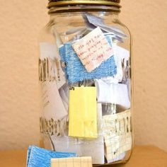 Great idea!  When good things happen during the year, write it down on a post it note and put it in the jar.  Then, as a tradition, on New Year's Eve, read each note as a reminder of the blessings received through the year.  Love it!