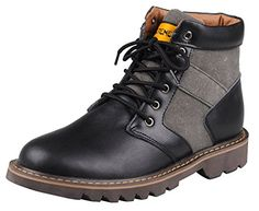 Serene Christmas Mens Fashion Cowboy Leather Canvas Lace Up Work Boots(9.5 D(M)US, 036Black) #MensClothes #Mens #MensFashion #Fittery #FashionIdeasForMen