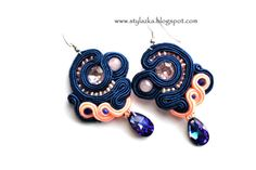 Soutache earrings with plastic Elements by StylazkaSoutache