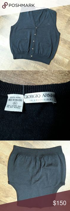 Georgia Armenia Le Collections men size xl Vest 100 % wool. Charcoal colors. Size XL. No holes.  No spots. Two pockets. Very good used condition. Non smoking house. Giorgio Armani Sweaters V-Neck