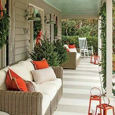 Carolina Colonial Christmas in Charleston, South Carolina, event designer Calder Clark gives her family home a makeover just in time for holiday entertaining. Concrete Patios, Concrete Front Porch, Outdoor Rooms, Outdoor Living, Painted Concrete Floors, Painting Concrete Porch, Painted Porch Floors, Painted Rug, Painted Beams