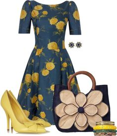 """""""Marigold & Navy"""" by theclosetbychristie on Polyvore"""
