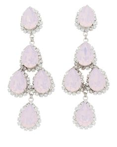 Pink statement crystal earrings | Pink Duchess of Fabulous Earrings from Thomas Laine