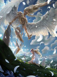 angel big feather wings blue sky cloud sword amazing fantasy wallpaper backgroun… – Willkommen bei Pin World Fantasy Artwork, Fantasy Art Angels, Fantasy Creatures, Mythical Creatures, Art En 2d, Angel Warrior, Anime Kunst, Fantasy Kunst, Inspiration Art
