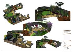 Lots of different viewpoints help the client to understand what is happening in the space and where the focal points are. Landscape Design, Garden Design, Cuprinol Garden Shades, Circular Patio, Sandstone Paving, Hardwood Decking, Earth Design, Focal Points, Family Garden