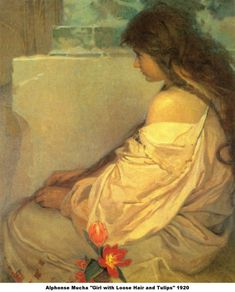 """• Art by Alphonse Mucha (1920) - """"Girl with Loose..."""