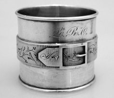 American Coin Silver Belt Buckle Napkin Ring Duhme & Co 1870