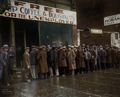 Unemployed men outside Al Capone's soup kitchen in Chicago during the Great Depression, 1931