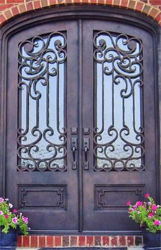 Custom Iron Doors - Doors by Design - Alabama and Mississippi Wrought Iron Decor, Wrought Iron Gates, Iron Front Door, Front Doors, Cool Doors, Knobs And Knockers, Iron Art, Entrance Doors, Windows