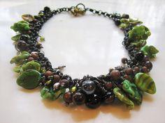 Lucinda Storms : Belvedere Beads - Leaves & Berries Necklace, lampwork glass, black steel, wooden beads & freshwater pearls