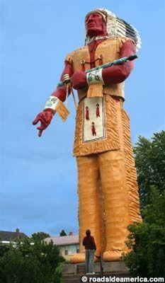 Hiawatha Indian statue, Ironwood, Michigan.