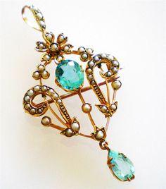 9ct gold art nouveau antique style lavalier pendant w/ blue topaz & seed pearls