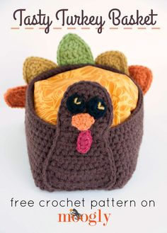 Just in time for Thanksgiving! Make this cute crochet turkey basket by Moogly! Free pattern calls for Lion's Pride Woolspun in  coffee, pumpkin, black, honey, cranberry, and avocado and sizes I (5.5mm) and K (6.5mm) crochet hooks.