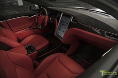 tesla model s bently hot spur red leather interior with contrast white stitching