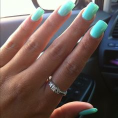 You can use any length you need with acrylic nails. Let's check these amazing square acrylic nail designs and create a new style for your pretty hands! Acrylic Nails Natural, Square Acrylic Nails, Summer Acrylic Nails, Spring Nails, Summer Nails, Nail Designs 2017, Acrylic Nail Designs, Art Designs, Mint Nails