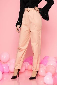 StarShinerS peach casual high waisted trousers slightly elastic cotton buckle accessory with pockets, buckle accessory, accessorized with belt, button and zipper fastening, with pockets, slightly elastic cotton