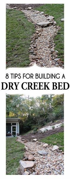 Dry Creek Bed, for beauty and drainage; 8 tips for creating & building a dry creek bed; DIY Dry Creek BedA Dry Creek Bed, for beauty and drainage; 8 tips for creating & building a dry creek bed; Hillside Landscaping, Landscaping With Rocks, Landscaping Ideas, Dry Riverbed Landscaping, Landscaping Software, Wooded Backyard Landscape, Landscaping Equipment, Modern Landscaping, Rain Garden