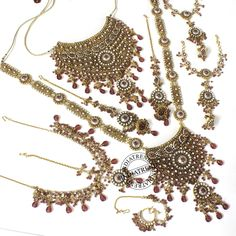 Beautiful Bridal Necklace + Earrings + Mathapatti + Nose Ring + Bracelet by Indiatrend. Shop Now at WWW.INDIATRENDSHOP.COM