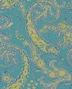 Patara (W6750/02) - Osborne & Little Wallpapers - An elegant all over wallpaper design, featuring an ornate paisley design, named after an ancient coastal city. Shown here in jade, peacock and lime. Other colourways are available. Please request a sample for a true colour match. Large scale pattern repeat. Paste-the-wall product.