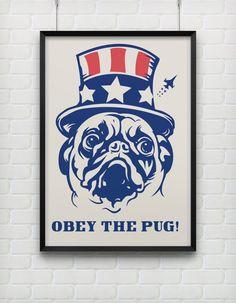Pritable Poster  Obey The Pug  Home Wall Art by HamptyDamptyArt