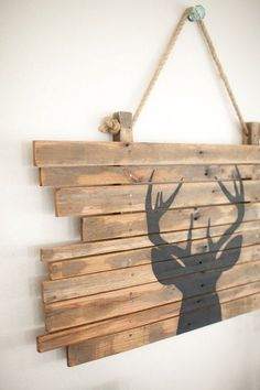 White Tail Deer Head Silhouette on Hardwood Plaque.