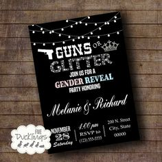 Guns or Glitter Gender Reveal Party Invitation, Gender Reveal Invite, Printable Digital Invitation, A193