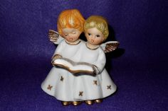 """Vintage Singing Angels Holding Song Book 4.5"""" Tall picclick.com"""
