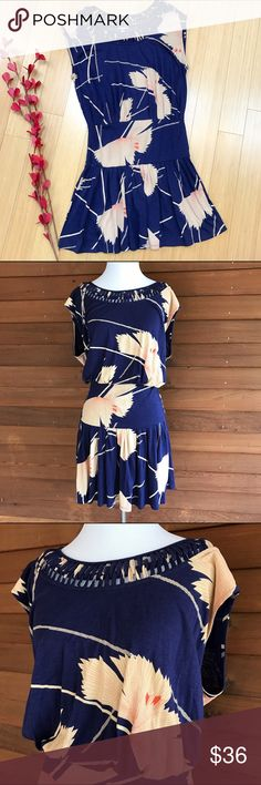 Anthropologie LEIFNOTES dress, S. Anthropologie Leifnotes Scattered Stellata dress, size small. Excellent condition. Soft navy blue knit with wheat colored abstract floral design, 60% cotton, 40% modal. Bust is 23 inches, length is 37 inches. Beautiful color combination! Anthropologie Dresses