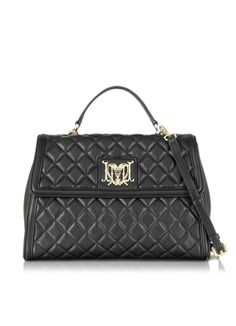Moschino Love Moschino Black Quilted Eco Leather Satchel