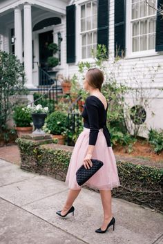 Gal Meets Glam Valentine's Day Date Night - Express sweater & skirt c/o, Louboutin pumps & Chanel clutch