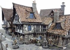 Highwaymen in front of the Coaching Inn (miniatures from Outpost Wargame Services and painted by Simon Bradley, terrain from Tabletop World)
