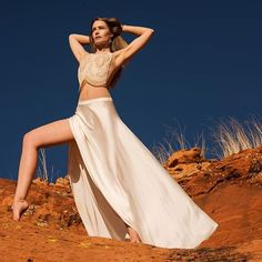 Feeling the spirit of Sedona wearing the Siouxsie lace bodysuit and white silk Magicians skirt @andrewmacphersonofficial #joannahadfieldatelier #allwhiteaffair #redrocks