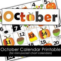 Free October Calendar Printables for mini pocket chart calendar