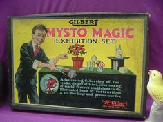 GILBERT #2001 MYSTO MAGIC EXHIBITION SET +POSTER +INSTRUCTIONS+21 ACCESSORIES