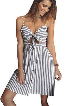 9dde5c0ab29 Ayliss Women Dresses Spaghetti Strap Front Cut Out Striped Dress Tunic Dress    Read more reviews