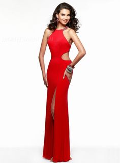 ihomecoming.com SUPPLIES Sexy Simple Column Halter Beading Split-Front Pierced Floor Length Evening Dress Sexy