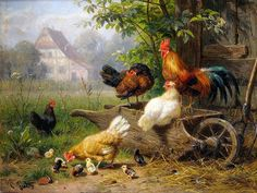 Farm Rooster Chickens by Carl Jutz Accent Tile Mural Kitchen Bathroom Wall Backsplash Behind Stove Range Sink Splashback One Tile Ceramic, Glossy Tile Murals, Tile Art, Dolphin Images, Christmas Swags, Country Scenes, Wall Stickers Murals, Backyard Birds, Splashback, Fauna
