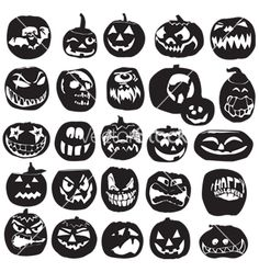 Silhouettes of halloween pumpkin vector art - Download vectors  Ideas for metal Halloween Art