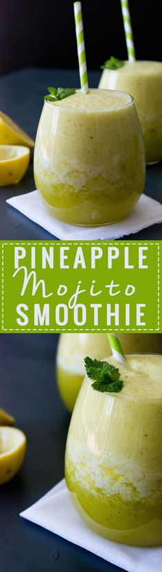 This Pineapple Mojito Smoothie is cool and delicious, not too sweet and very refreshing. It is also very quick to prepare and with only 5 ingredients (where one is ice, so basically just 4), it is the simplest summer treat. So if where you are is hot and sweltering and you need cooling down - go and make yourself one of these bad boys :)