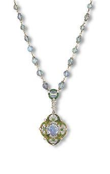 AN ATTRACTIVE BELLE ÉPOQUE JELLY OPAL, DIAMOND AND DEMANTOID GARNET PENDENT NECKLACE