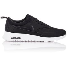 Nike Air Max Thea Premium Sneakers found on Polyvore featuring shoes, sneakers, black, lace up sneakers, black leather sneakers, black trainers, perforated sneakers and black sneakers