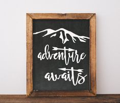 "Graduation Gift Chalkboard Instant Download ""Adventure Awaits"" Art Print Printable adventure wall art decor printable mountain adventure"