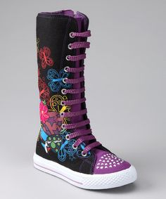 Take a look at this Black & Purple Princess Extra Hi-Top Sneaker by Ositos Shoes on #zulily today!