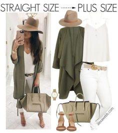Straight Size to Plus Size – Khaki Jacket Outfit - Plus Size Fashion for Women - Look Casual Otoño, Moda Casual, Mode Outfits, Casual Outfits, Fashion Outfits, Womens Fashion, Casual Clothes, Fashion Clothes, Jackets Fashion