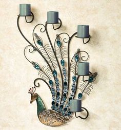 Peacock Jewels Gem Wall Candelabra $89.99 www.allthingspeacock.com - Peacock Lamps