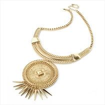 Gold disc tassel chain necklace. African by LoveYourselfLots, £9.85