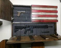 Items similar to Burnt American wooden flag hidden gun cabinet secret compartment gun rack. on Etsy Hidden Gun Safe, Hidden Gun Storage, Weapon Storage, Secret Storage, Kaizen, Gun Concealment Furniture, Airsoft, Hidden Gun Cabinets, Large American Flag