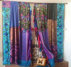 SKY ABOVE ME Gypsy Boho Curtains by HippieWild bohemian chic hippie hippy floral rose black – 2019 - Curtains Diy Patchwork Curtains, Bohemian Curtains, Diy Curtains, Drapes And Blinds, Unique Curtains, Gypsy Decor, Bohemian Decor, Bohemian Office, Bohemian Furniture
